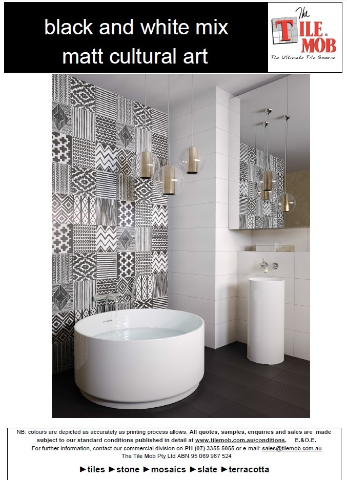 black and white cultural art tiles