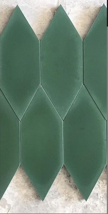 DARK-GREEN ELONGATED HEXAGONAL CEMENT ENCAUSTIC