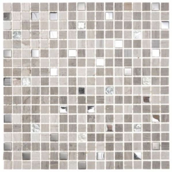 GREY TRAVERTINE STAINLESS GLASS MIX MARBLE MOSAIC