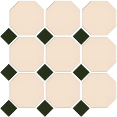VANILLA-GREEN OCTAGONAL AND DOT