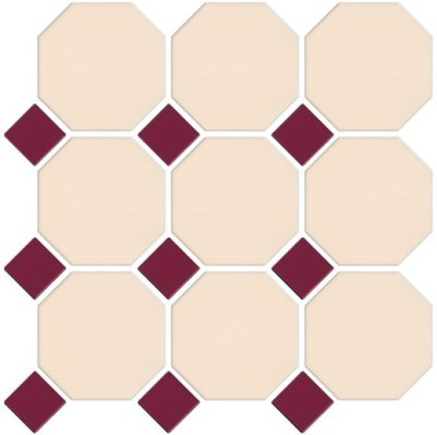 VANILLA-BURGUNDY OCTAGONAL AND DOT