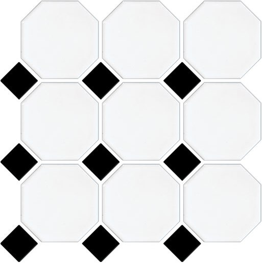 WHITE- BLACK OCTAGONAL AND DOT