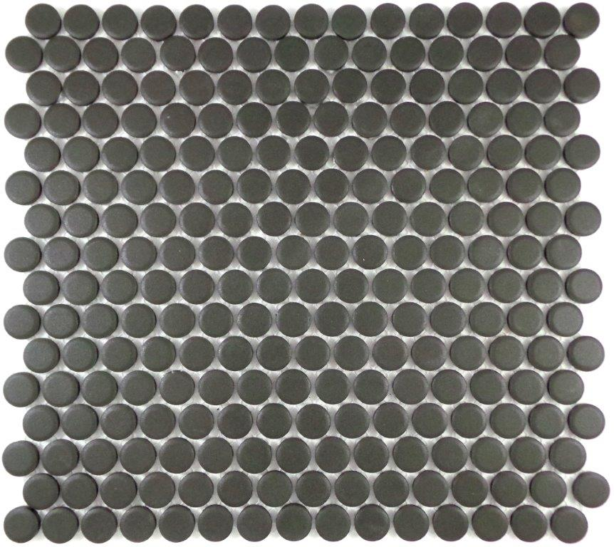 CHARCOAL VITRIFIED 19MM PENNY ROUND MOSAIC