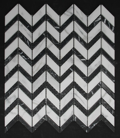 CARRARA/NERO HONED CHEVRON