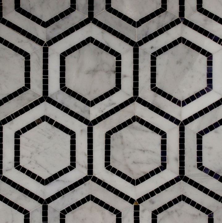CARRARA-NERO-MARQUINA HONED HEXAGON MARBLE