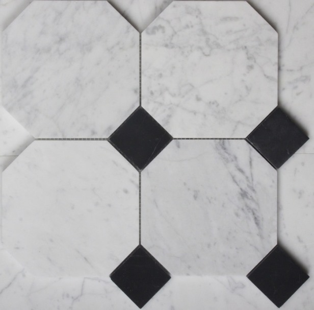 CARRARA/NERO MARQUINA HONED OCTAGON