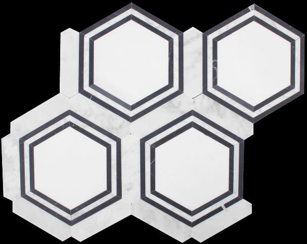 CARRARA-NERO HONED HEXAGON