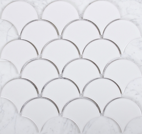 WHITE MATT FISHSCALE MOSAIC