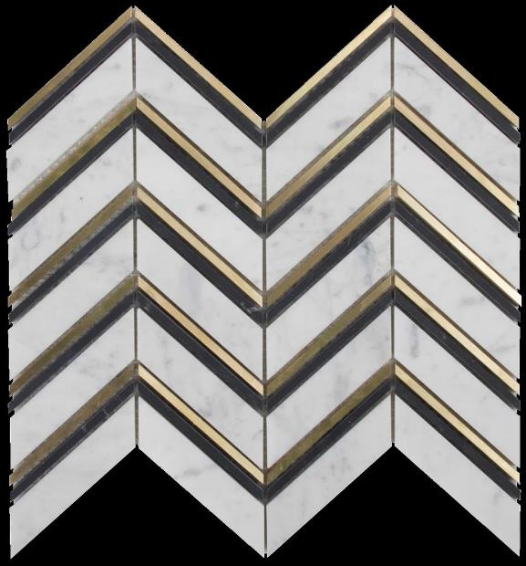 CARRARA-NERO-BRASS MIX HONED CHEVRON