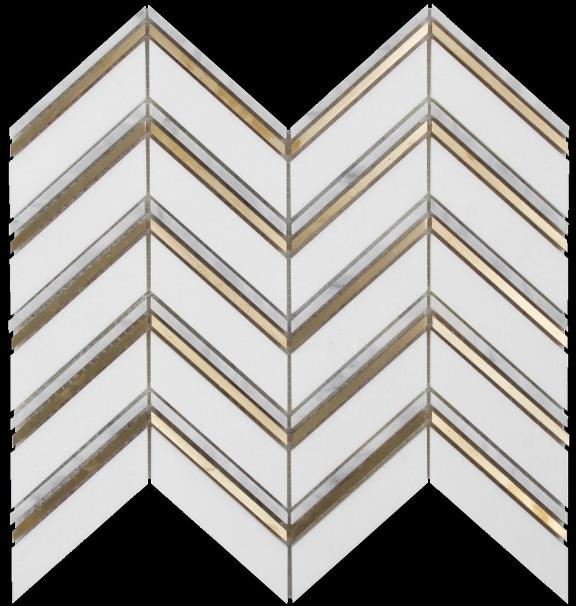 CARRARA-BRASS MIX HONED CHEVRON