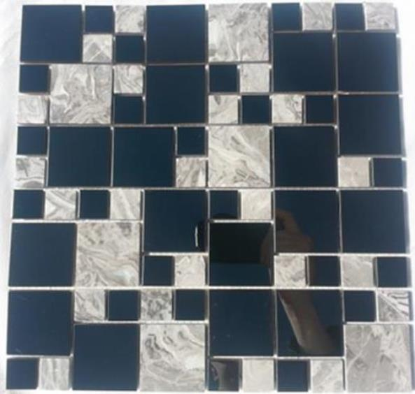 STAINLESS/MARBLE MIX FRENCH PATTERN MOSAIC