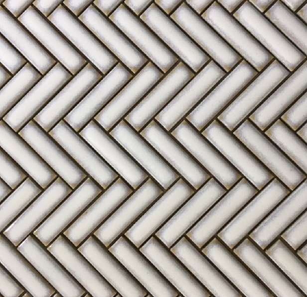 ANTIQUE WHITE FRAMED GLOSS FINGER HERRINGBONE