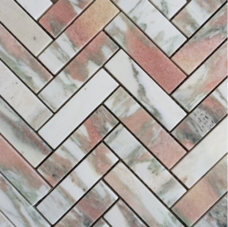 NORWEGIAN-ROSE HONED HERRINGBONE MARBLE
