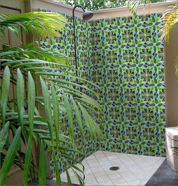 TROPICAL JUNGLE GLOSS STAINED GLASS MOSAIC