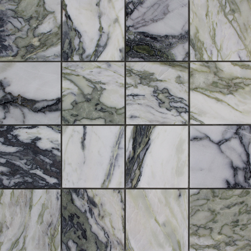 CALACATTA VERDE MIX HONED SQUARE MARBLE MOSAIC