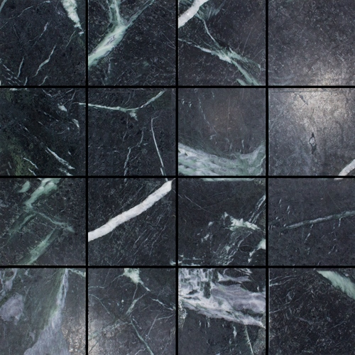 VERDE DARK HONED SQUARE MARBLE MOSAIC