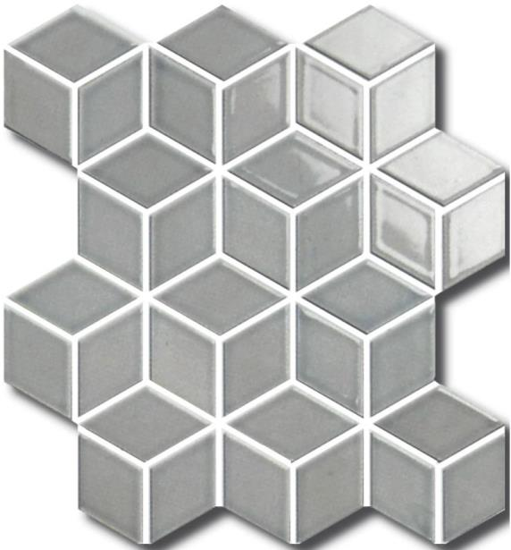 DOVE-GREY GLOSS 3D-CUBE VILLAGE