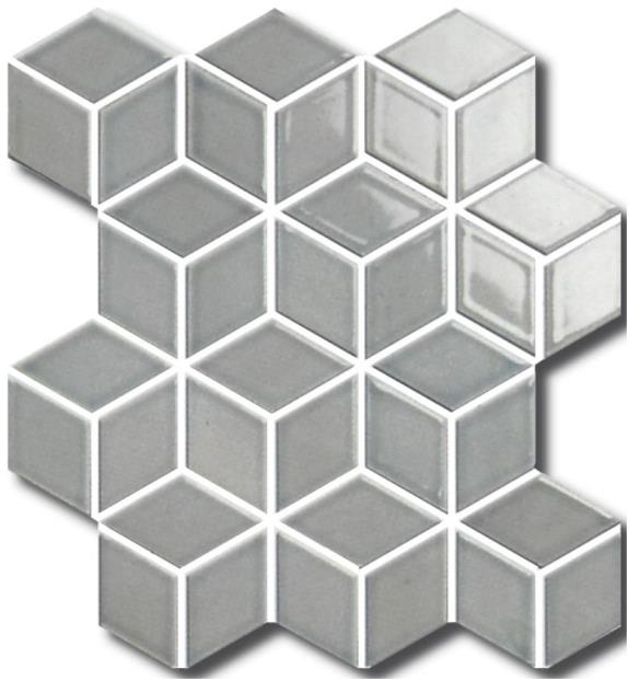 DOVE-GREY MATT 3D-CUBE VILLAGE