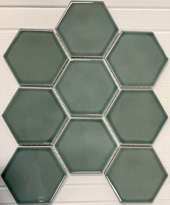 SAGE-GREEN GLOSS HEXAGON