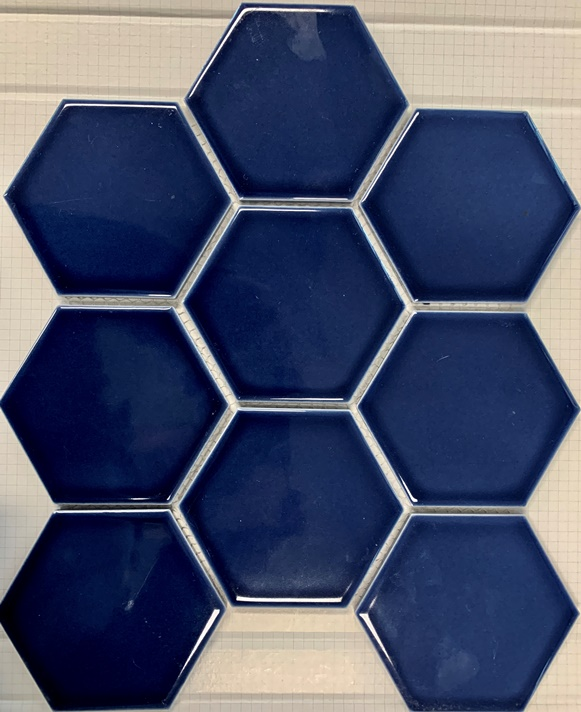 OCEAN-BLUE GLOSS HEXAGON