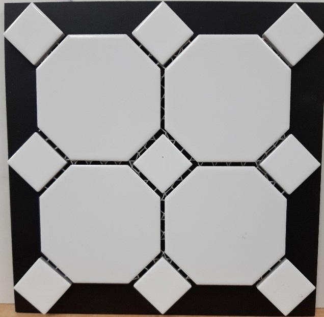 WHITE MATT OCT /WHITE GLOSS DOT OCTAGONAL MOSAIC