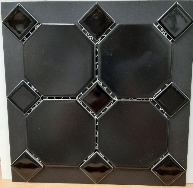 BLACK MATT OCT /BLACK GLOSS DOT OCTAGONAL MOSAIC