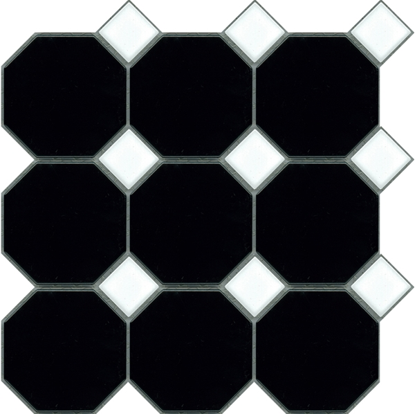 BLACK-WHITE  OCTAGONAL MATT AND DOT GLOSS