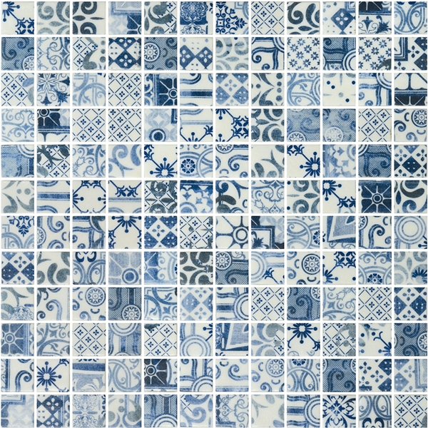 BLUE PATTERN GLASS MOSAIC RIVIERA