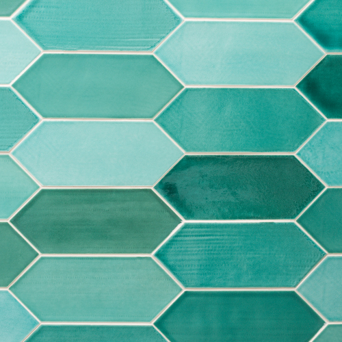 TURQUOISE GLOSS ELONGATED HEX PALISADE